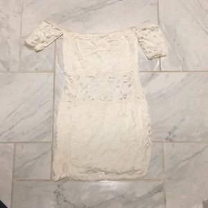 Cream lace dress with cut out